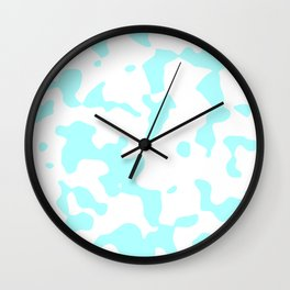 Large Spots - White and Celeste Cyan Wall Clock
