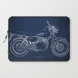 24-2013 Suzuki TU250X BLUE, Bike blueprint, gift for man Laptop Sleeve