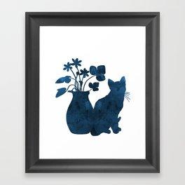 Cat And Flowers Framed Art Print