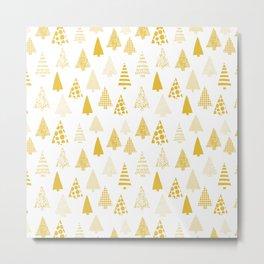 Golden textured Christmas tree silhouettes on white Metal Print