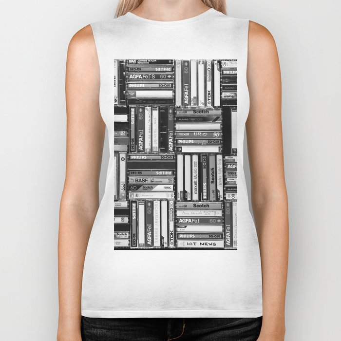 Music Cassette Stacks - Black and White - Something Nostalgic IV #decor #society6 #buyart Biker Tank