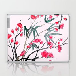 bamboo and red plum flowers in pink background Laptop & iPad Skin