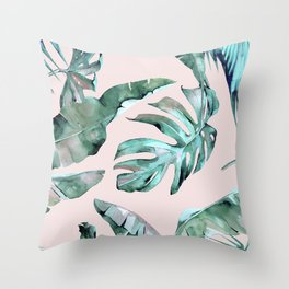 Tropical Palm Leaves Turquoise Green Coral Pink Throw Pillow