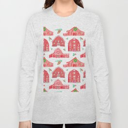 Watercolor Snowy Red Holiday Barns Long Sleeve T-shirt