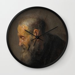 Rembrandt - Study of an Old Man in Profile (1630) Wall Clock