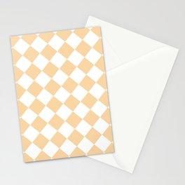 Large Diamonds - White and Sunset Orange Stationery Cards
