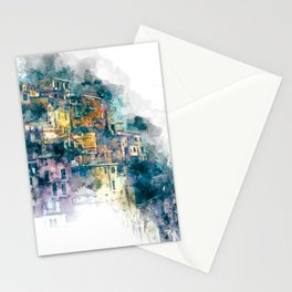 Houses village coast Italy Stationery Cards