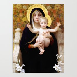 """William-Adolphe Bouguereau """"The Madonna of the Lilies"""" Poster"""