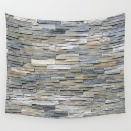 Gray Slate Stone Brick Texture Faux Wall Wall Tapestry