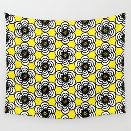 Yellow and Black Flowers Wall Tapestry