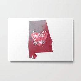 Sweet Home Map Alabama Pink Print Metal Print