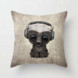 Cute Baby Honey Badger Dj Wearing Headphones Throw Pillow