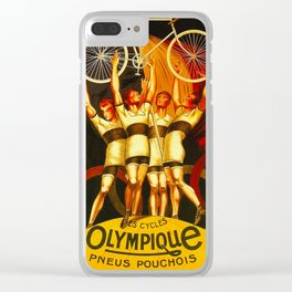 Vintage Olympique Bicycle Ad Clear iPhone Case