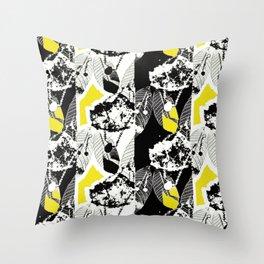 Black and White Leaf Stripe Throw Pillow