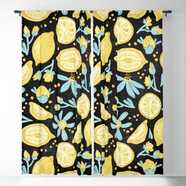 Lemon Pattern Black Blackout Curtain