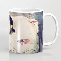 neil gaiman Mugs featuring Neil deGrasse Tyson - Astronaut in Space by Nicholas Redfunkovich