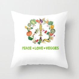 Vegetarian vegan vegetable Peace funny gift Throw Pillow