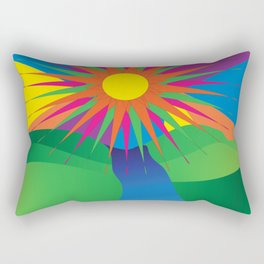 Psychedelic Sun Neon Mountain River Lands Rectangular Pillow