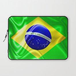 Brazil Flag Waving Silk Fabric Laptop Sleeve