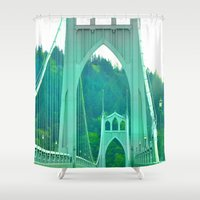 marc johns Shower Curtains featuring St. Johns Bridge Portland Oregon by Teresa Chipperfield Studios