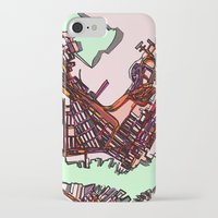 boston map iPhone & iPod Cases featuring Abstract Map- East Boston by Carland Cartography