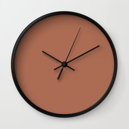Rich Chocolate Brown Solid Color Pairs With Sherwin Williams 2020 Trending Color Cavern Clay SW7701 Wall Clock