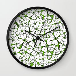 Line art - Clover : Green Wall Clock