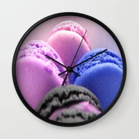 macaroons Wall Clocks featuring macaroons by Whimsy Romance & Fun