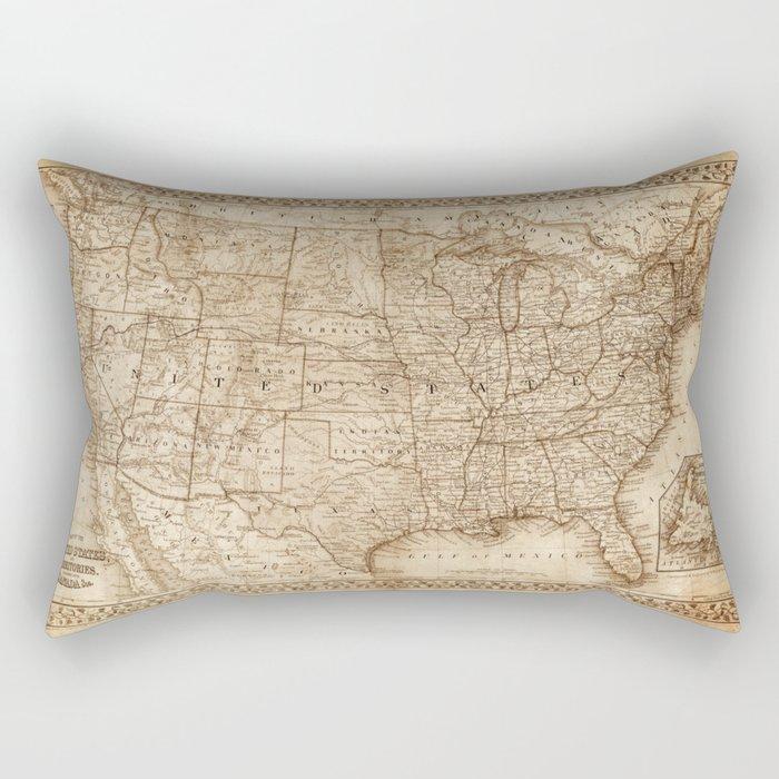 Usa Map Rectangular Pillow By Vintagemaps Society6