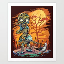 Mummy At The Beach Art Print