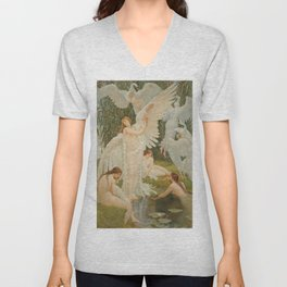 White Swans and the Maidens angelic garden landscape painting by Walter Crane  Unisex V-Neck