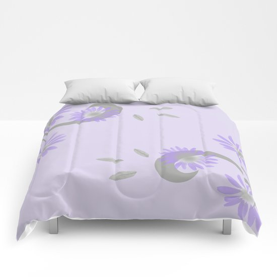 Floral Scroll Design - Purple and Lavender Comforters