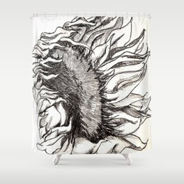 sunflower black and white Shower Curtain