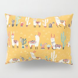 Happy llama with cactus in a pot Pillow Sham