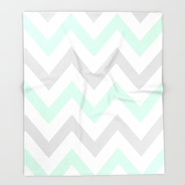 WASHED OUT CHEVRON (MINT & GRAY) Throw Blanket