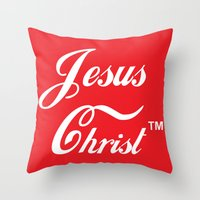 christ Throw Pillows featuring JESUS CHRIST by The Fugu Project