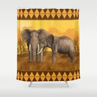 elephants Shower Curtains featuring Elephants by Moonlake Designs