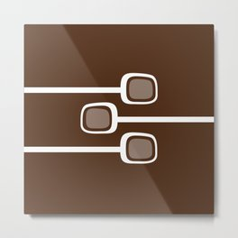 Minimalist Mid Century Modern White Branches on Chocolate Background Metal Print