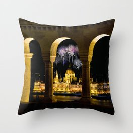 Hungarian Parliament with fireworks, Throw Pillow