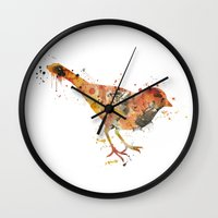 sparrow Wall Clocks featuring sparrow  by iokk