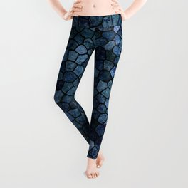 Blue Lagoon Midnight Rippled Water Abstract Leggings