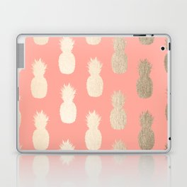 Gold Pineapples on Coral Pink Laptop & iPad Skin