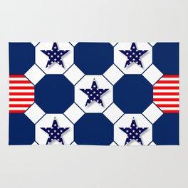 Nautical Patriotic Hexagons Rug