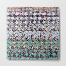 textured houndstooth in gray and teal Metal Print