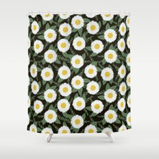 Daisies botanical floral print minimal flowers basic florals pattern charlotte winter dark Shower Curtain