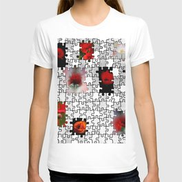 poppy love in puzzle design T-shirt