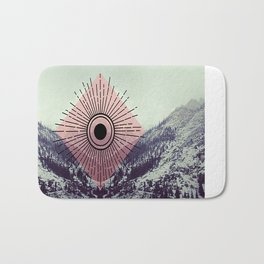 Mountains With Pink Bath Mat