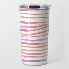 Irregular watercolor lines - pastel pink and ultraviolet Travel Mug