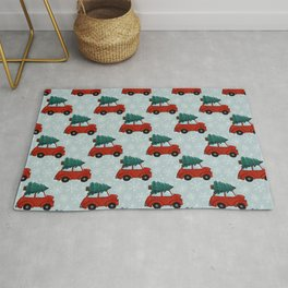 Red Christmas Car, Christmas Tree, Little Red Car, Holiday Print Rug