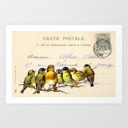 Birds on a branch singing Art Print